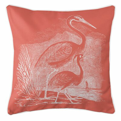 Vintage Coastal Egrets Throw Pillow Color: Coral