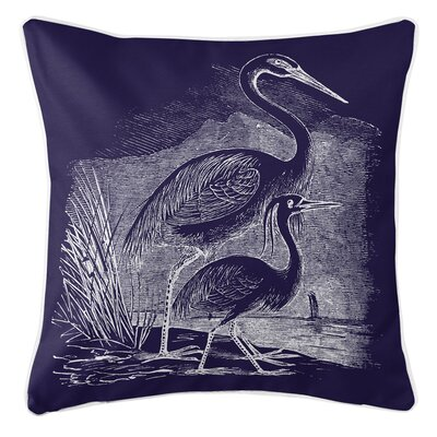 Vintage Coastal Egrets Throw Pillow Color: Navy