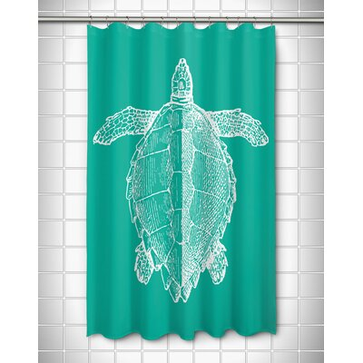Vintage Coastal Sea Turtle Shower Curtain Color: Aqua