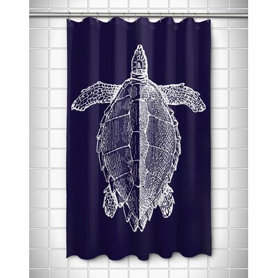 Vintage Coastal Sea Turtle Shower Curtain Color: Navy
