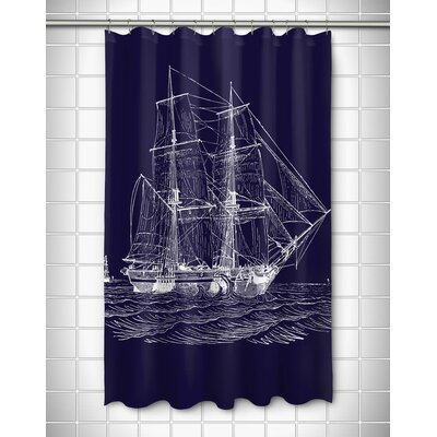 Vintage Coastal Ship Shower Curtain Color: Navy