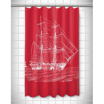 Vintage Coastal Ship Shower Curtain Color: Red