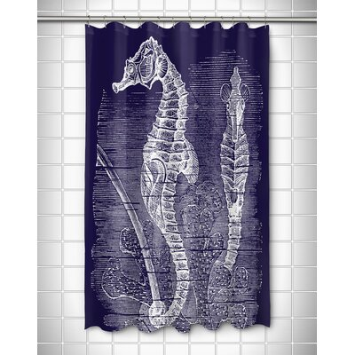 Vintage Coastal Seahorse Shower Curtain Color: Navy
