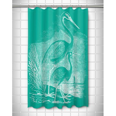 Vintage Coastal Egrets Shower Curtain Color: Aqua