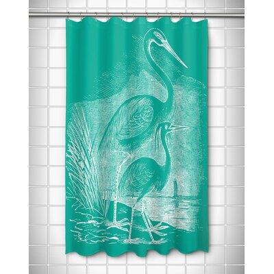 Vintage Coastal Egrets Shower Curtain Color: Aqua