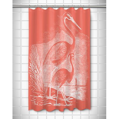 Vintage Coastal Egrets Shower Curtain Color: Coral