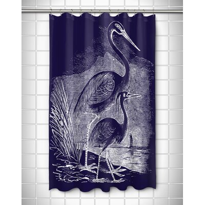 Vintage Coastal Egrets Shower Curtain Color: Navy