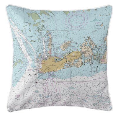 Nautical Chart Key West FL Throw Pillow