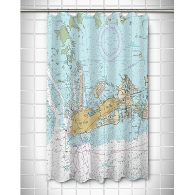 Nautical Chart Key West,FL Polyester Shower Curtain