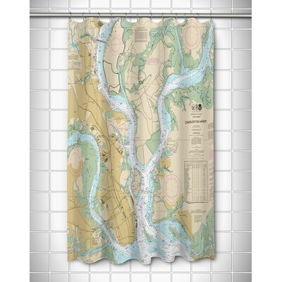 Nautical Chart Charleston, SC Polyester Shower Curtain