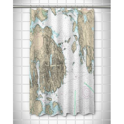 Nautical Chart Frenchman Bay, Mount Desert Island, ME Polyester Shower Curtain