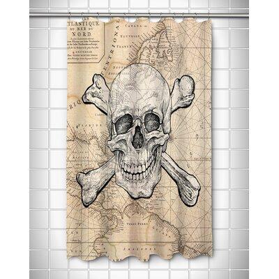 Nautical Chart Skull and Crossbones Old World Polyester Shower Curtain