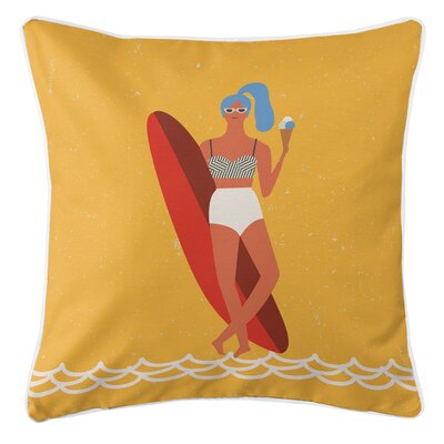 Surfer Girl Val Throw Pillow