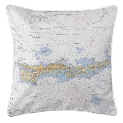 Nautical Chart Vaca Key Marathon, FL Throw Pillow