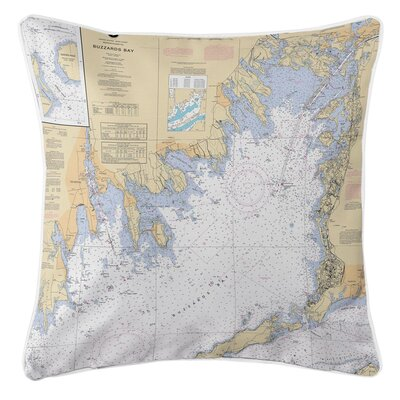Nautical Chart Buzzards Bay, MA Throw Pillow