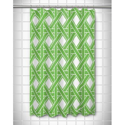 Elli Shower Curtain Color: Green/White