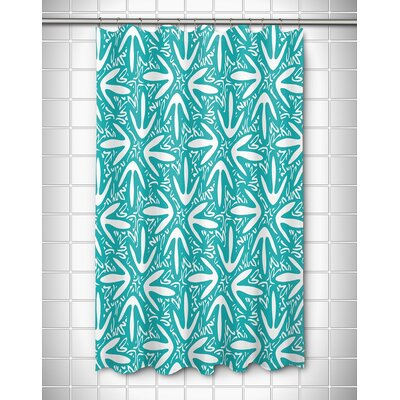 Tribal Lagoon Shower Curtain Color: Turquoise