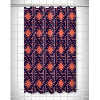 Elli Shower Curtain Color: Coral/Navy