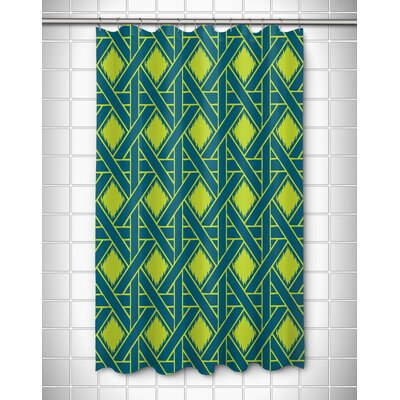 Key Largo Passport Shower Curtain Color: Turquoise/Lime