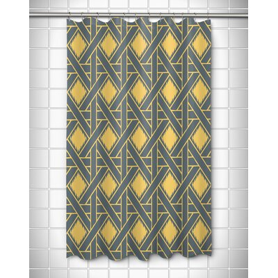 Elli Shower Curtain Color: Gray/Yellow