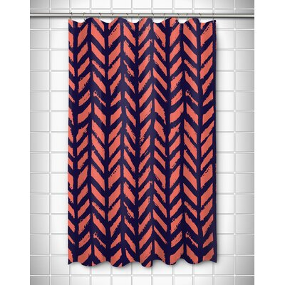 Grand Bahama Drifter Shower Curtain Color: Coral/Navy