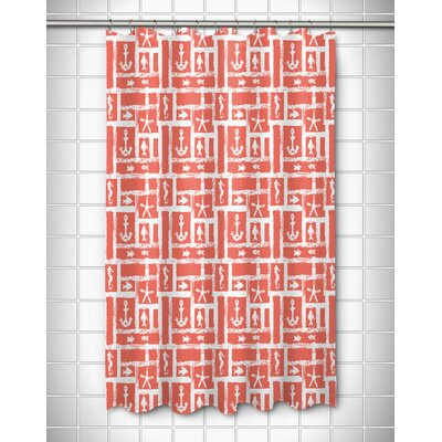 Coastal Ocean Squares Shower Curtain Color: Coral