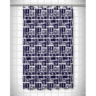 Coastal Ocean Squares Shower Curtain Color: Navy