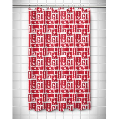 Coastal Ocean Squares Shower Curtain Color: Red