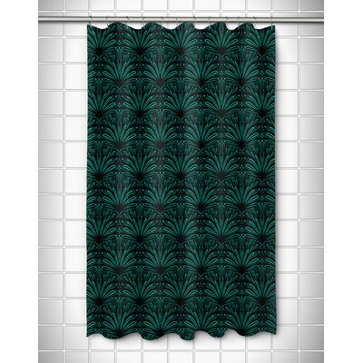Modern Art Deco Goldenrod Shower Curtain Color: Aqua