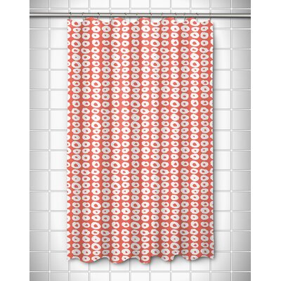 Modern Doughnuts Aqua Shower Curtain Color: Coral