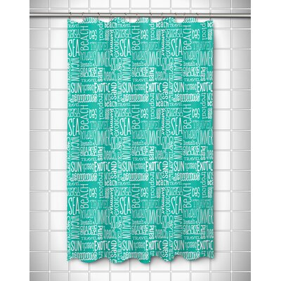 Coastal Beach Vacation Words Shower Curtain Color: Aqua