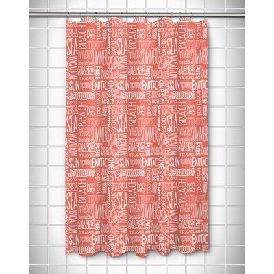 Coastal Beach Vacation Words Shower Curtain Color: Coral