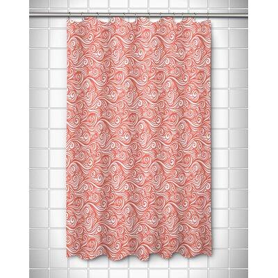 Coastal Dreamy Sea Shower Curtain Color: Coral