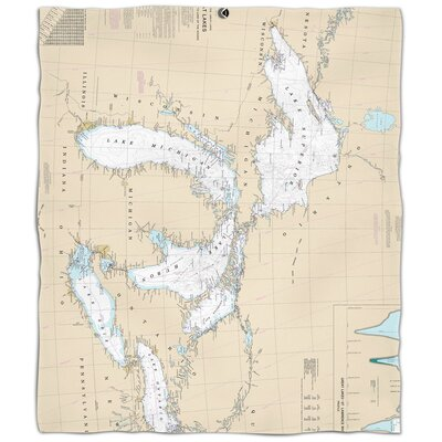 Nautical Chart Great Lakes Fleece Blanket