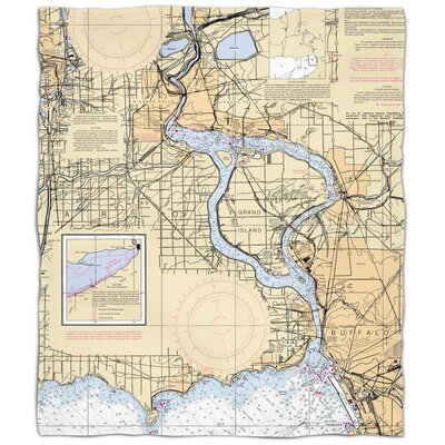 Nautical Chart Niagra Falls Fleece Blanket