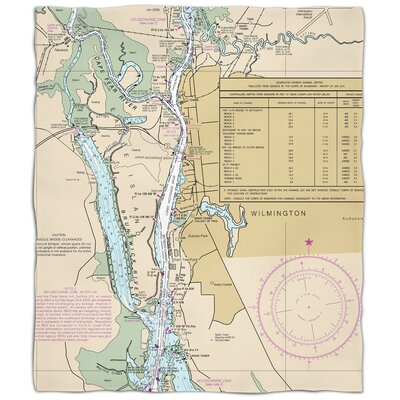 Nautical Chart Wilmington Fleece Blanket