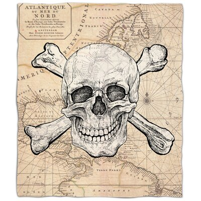 Ellisburg Skull and Crossbones Old World Fleece Throw