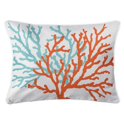 Saxondale Coral Duo Lumbar Pillow Color: White/Orange