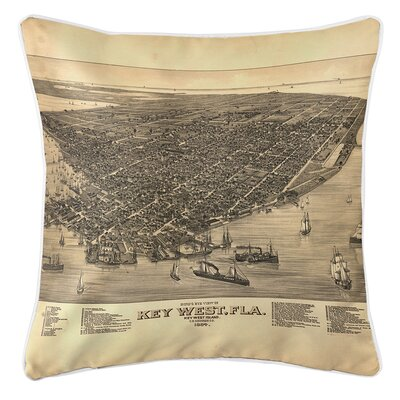 Ruger Key West Vintage Birds Eye View Throw Pillow