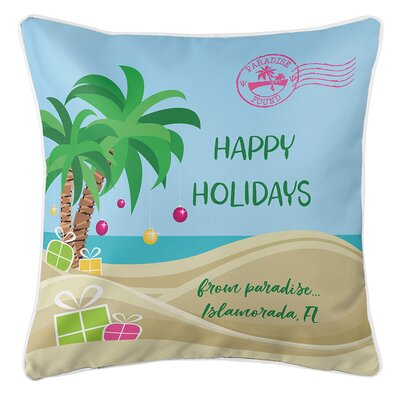Happy Holidays Tropical Personalized Throw Pillow
