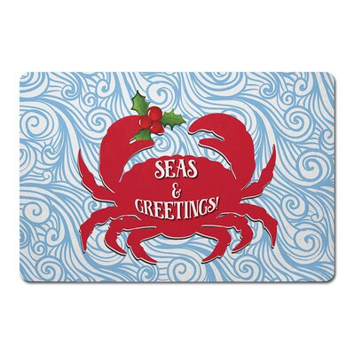 Seas & Greetings Crab Christmas Floor Kitchen Mat