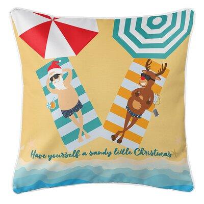 Beach Santa & Reindeer Christmas Throw Pillow