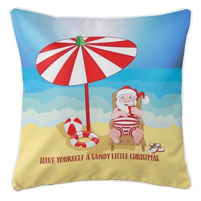 Beach Santa Christmas Throw Pillow