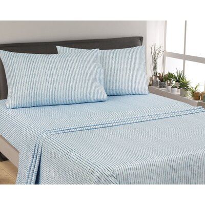 Murdock Painters Stripe 300 Thread Count 6 Piece Satin Sheet Set Size: Full, Color: Blue
