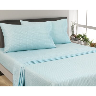 Oreana Dots 300 Thread Count 3 Piece Satin Sheet Set Color: Aqua