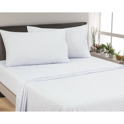 Oreana Dots 300 Thread Count 3 Piece Satin Sheet Set Color: Navy