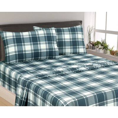 Rakesh Plaid 300 Thread Count 3 Piece Satin Sheet Set Color: Navy