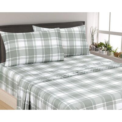 Rakesh Plaid 300 Thread Count 3 Piece Satin Sheet Set Color: Gray