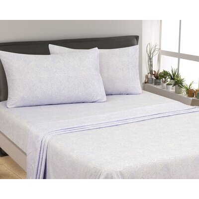 Oreana Paisley 300 Thread Count 3 Piece Satin Sheet Set Color: Lilac