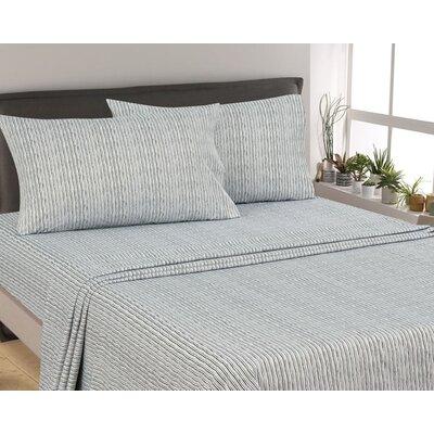 Murdock Painters Stripe 300 Thread Count 6 Piece Satin Sheet Set Size: Full, Color: Gray